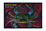 Maryland - Blue Crab Paper Mosaic Prints by  Lantern Press