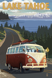 Lake Tahoe - VW Van and Lake Prints by  Lantern Press