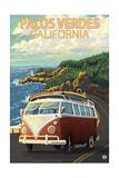 Palos Verdes, California - VW Van Poster von  Lantern Press