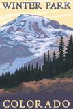 Winter Park, Colorado - Mountain and Trees Art by  Lantern Press