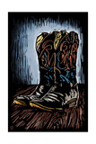 Cowboy Boots - Scratchboard Posters by  Lantern Press