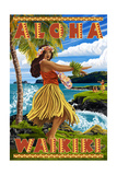 Waikiki, Hawaii - Aloha - Hawaii Hula Girl on Coast Posters by  Lantern Press