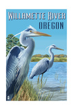 Willamette River, Oregon - Heron Scene Prints by  Lantern Press