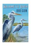 Willamette River, Oregon - Heron Scene Prints