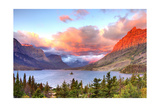 Glacier National Park, Montana - St. Mary Lake and Sunset Art by  Lantern Press