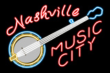 Nashville, Tennesse - Neon Banjo Sign Poster van  Lantern Press