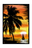 Palm and Sunset - Scratchboard Prints by  Lantern Press
