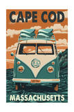 Cape Cod, Massachusetts - VW Van Prints by  Lantern Press