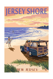 Jersey Shore - Woody on the Beach Art by  Lantern Press