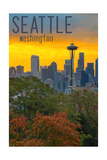 Seattle, Washington - Sunrise over City Posters by  Lantern Press