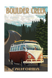 Boulder Creek, CA - VW Van Prints by  Lantern Press