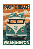 Pacific Beach, Washington - VW Van Posters by  Lantern Press