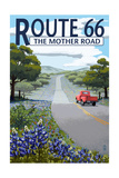 Route 66 - Highway and Wildflowers Prints by  Lantern Press