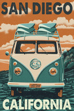 San Diego, California - VW Van Poster by  Lantern Press