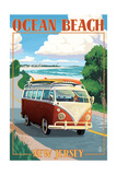 Ocean Beach, New Jersey - VW Van Drive Print by  Lantern Press