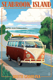 Seabrook Island, South Carolina - VW Van Coastal Drive Posters by  Lantern Press