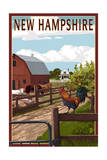 New Hampshire - Barnyard Scene Prints by  Lantern Press