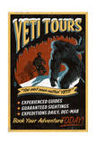 Yeti Tours - Vintage Sign Art by  Lantern Press