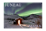 Juneau, Alaska - Northern Lights and Cabin Art