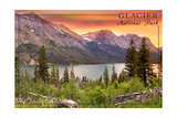 Glacier National Park, Montana - Lake and Peaks at Sunset Poster by  Lantern Press