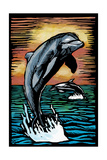 Dolphins - Scratchboard Art by  Lantern Press