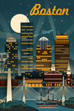 Boston, Massachusetts - Retro Skyline Prints by  Lantern Press