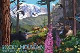 Rocky Mountain National Park - Wildlife Utopia Print by  Lantern Press
