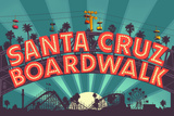 Santa Cruz, California - Beach Boardwalk Sign at Night Prints by  Lantern Press