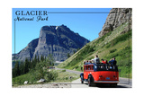 Glacier National Park, Montana - Going-to-the-Sun Road and Red Bus Poster by  Lantern Press