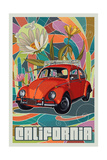 California - VW Bug Art by  Lantern Press