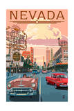 Nevada - Old Strip Scene Posters by  Lantern Press