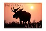 Fairbanks, Alaska - Moose Silhouette Posters