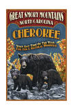 Cherokee, North Carolina - Black Bear Vintage Sign Posters par  Lantern Press