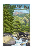 North Carolina - Bears and Creek Prints by  Lantern Press