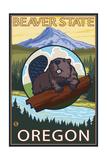 Ashland, Oregon - Beaver and Mountain Reprodukcje autor Lantern Press