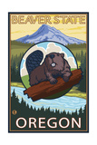 Ashland, Oregon - Beaver and Mountain Prints by  Lantern Press