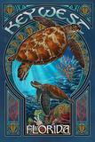 Key West, Florida - Sea Turtle Art Nouveau Poster by  Lantern Press