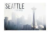 Seattle, Washington - Space Needle and Skyline Fog Print