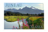 Juneau, Alaska - Mountain Wilderness and Fireweed Prints by  Lantern Press