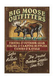 Moose Outfitters - Vintage Sign Prints by  Lantern Press