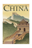 Great Wall of China - Lithograph Style Schilderij van  Lantern Press