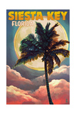 Siesta Key, Florida - Palm and Moon Poster by  Lantern Press