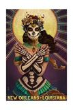 New Orleans, Louisiana - Day of the Dead Crossbones Kunstdruck von  Lantern Press
