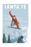 Santa Fe, New Mexico - Jumping Snowboarder Print