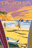 La Jolla, California - Beach and Surfers Art by  Lantern Press