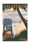 Galveston, Texas - Adirondack Chairs and Sunset Print by  Lantern Press