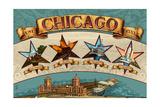Chicago, Illinois - Four Stars Prints by  Lantern Press