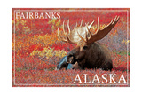 Fairbanks, Alaska - Bull Moose Prints by  Lantern Press