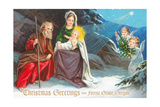Christmas Greetings from Forest Grove, Oregon - Nativity Scene in Snow with Angels Print by  Lantern Press