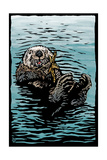 Sea Otter - Scratchboard Art by  Lantern Press